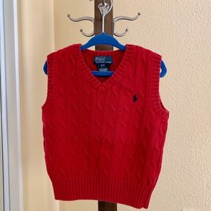Boys Polo by Ralph Lauren cable knit sweater vest.